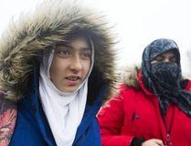 Khawlah Noman and her mother Saima Samad, (right) arrive at Pauline Johnson Public School in Toronto, Ont. on Jan. 12, 2018. (Stan Behal/Toronto Sun/Postmedia Network)