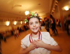 Selkirk and District Ukrainian School of Dance level one dancer Mia Evashenko celebrates Malanka in East Selkirk Jan. 20. (Brook Jones/Selkirk Journal/Postmedia Network)