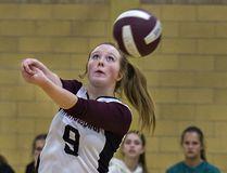 Emma Burr of Pauline Johnson Collegiate bumps the ball during a high school senior girls volleyball match against Brantford Collegiate Institute. (Brian Thompson/The Expositor)