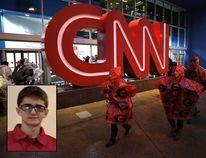 The CNN Center is seen in Atlanta on Jan. 8, 2018. Inset, Brandon Griesemer from Facebook. (Christian Petersen / Getty Images)