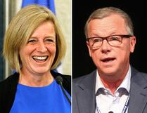 Alberta Premier Rachel Notley and Saskatchewan Premier Brad Wall have been trading barbs over license plates on construction sites.