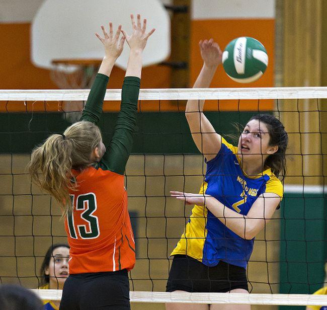 Sydney Hendershott of Brantford Collegiate Institute directs her shot away from North Park Collegiate defender Amber Leggett during a high school senior girls semifinal game on Thursday. (Brian Thompson/The Expositor)