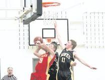 The Hanna Hawks senior boys basketball team held their annual home tournament on Feb. 9-10 in Hanna, Alta. The Hawks faced off against the Glenmary Saints, winning 98-86. Jackie Irwin/Hanna Herald/Postmedia