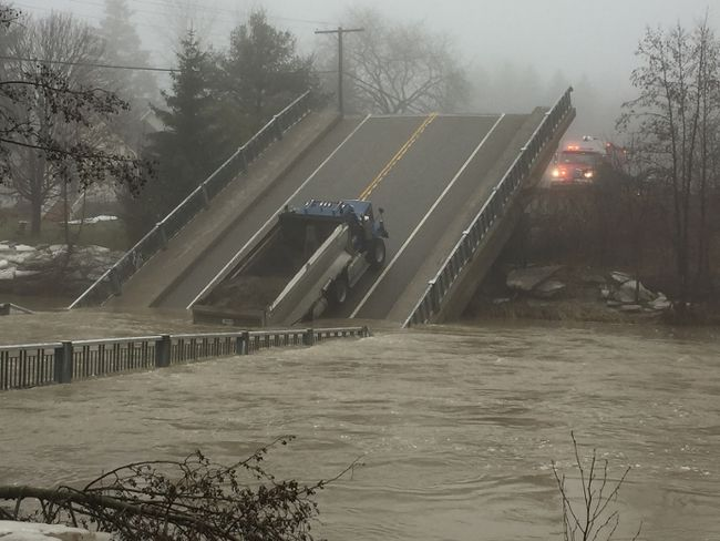 Collapsed bridge in the flood-hit Elgin County community of Port Bruce. (DEREK RUTTAN, The London Free Press)
