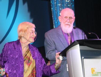 Bonnie and Fred Cappuccino at the podium on Saturday night at Nav Centre, recipients of the Dr. Garth Taylor Humanitarian Award. Todd Hambleton/Cornwall Standard-Freeholder