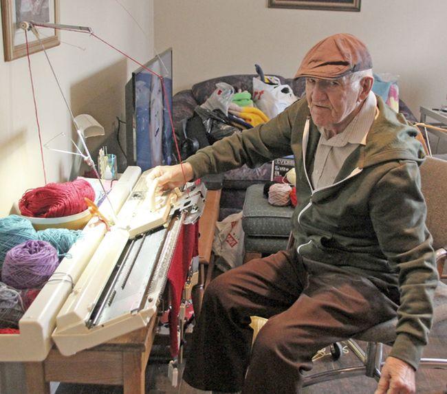 James Lazarou, 94, uses a knitting machine to make blankets he donates to not-for-profit organizations. Jennifer Hamilton-McCharles / The Nugget