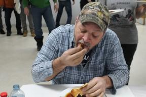 Bernard Morin devoured 11 pancakes earning him the champion of pancake eaters.