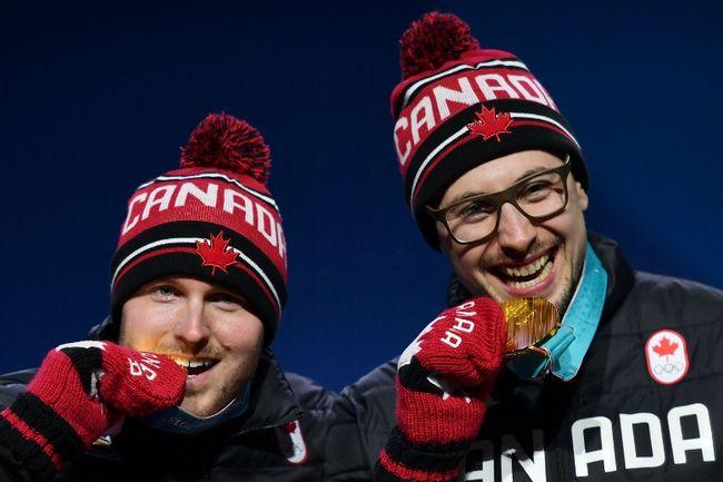Canada's bobsled gold medallists Justin Kripps and Alexander Kopacz. (AFP)