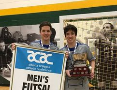 Gabriel Koebsch (left) and brother Rodrigo Wogel Koebsch celebrate Keyano Huskies men's futsal championship win. Submitted image/Keyano College Athletics
