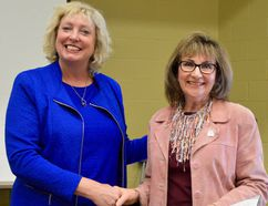 MP Marilyn Gladu presented Mary Jean Hansen, choir director of Synergy 150, with a Community Commendation Award at Camlachie United Church. Melissa Schilz/Postmedia Network