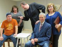 From left the cast of Hilda's Yard Stephen Flindall, Rebecca Schwarz, Troy Douma, Elizabeth Williams, and Doug Kerr. (Photo by Bonnie Hartley)