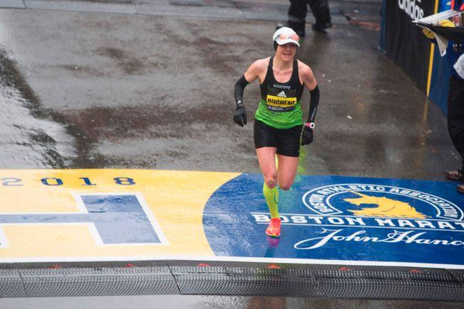 Brantford's Krista Duchene was the third woman to cross the finish line of the Boston Marathon on Monday. (RYAN MCBRIDE/AFP Photo)