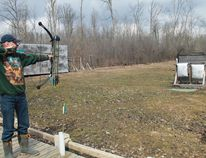 Lambton Bowhunters Association's Brian Savidant takes aim at a target at the association's range. CARL HNATYSHYN/SARNIA THIS WEEK