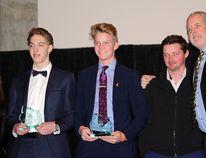 Blake Dehr and Brady Roblin were co-winners as MVP of the Sherwood Park Midget-15 AAA Squires this season. Photo by Shane Jones/News staff