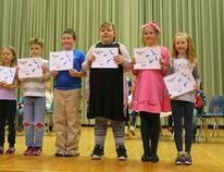 The winners: Grade 1 - Jaden Kowalchuk (runner up Laila Miller), Grade 2 - Isobel Knopf (runner up Eli Dillman), Grade 3-Ryan Ganter (runner up Collie Rae Brazel), Grade 4-Kennedy Zavisha, Grade 5-Travis Beaucage (runner up Amber Wilson), Grade 6-Chloe Hobbs (runner up Morgan Rowe).