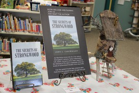 """The Secrets of Strongwood"" on display at the South Interlake Regional Library Teulon branch on April 20. (Juliet Kadzviti/Interlake Publishing/Postmedia Network)."