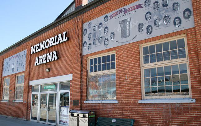 Tim Miller/The Intelligencer A for sale sign sits inside the front door of the Memorial Arena in Belleville.