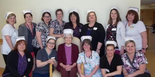 Linda Masse, RN, back row left, Kelly Fleming, RN, Cyndi Cunningham, RPN, Nikki Middleton, RPN, Nancy Johnstone, RPN, Lynne Scarsellone, director of care, Lisa Robillard, RPN, Natalie Szilva, RN, Tracy Burton, RN, front row left, Sandra Goupil, RPN, Hautaniemi Raili, retired RN, Julie Giguere, RPN, Jacqueline Lefebvre, RPN and Celina Van Druenen, RPN, celebrate Nursing Week. Supplied photo