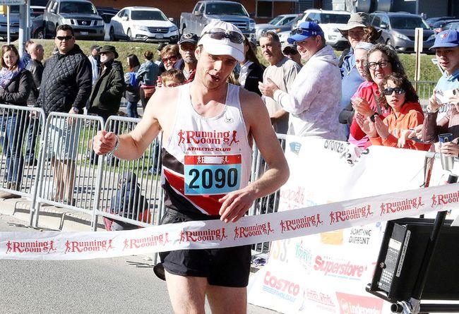 Eric Leishman crosses the finish line first in the half marathon at the 2018 SudburyROCKS!!! Race, Run, or Walk for Diabetes in Sudbury, Ont. on Sunday May 13, 2018. Gino Donato/Sudbury Star/Postmedia Network