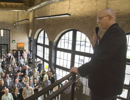 David Billson, CEO of rTraction, addresses a crowd at the launch of RH Accelerator last week. (Derek Ruttan/Postmedia News)