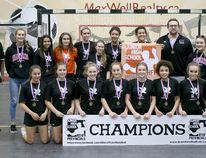 The FR Haythorne Hawks junior high senior girls handball team recently won its second consecutive Div. 1 provincial championship at Millennium Place. Photo Supplied