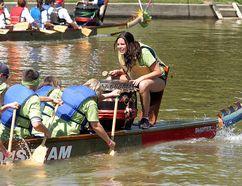 Allie Verbeem urges her CBD/No Frills team on during the Sydenham Challenge Dragon Boat Festival held on the Sydenham River in 2015. The event returns to Wallaceburg on June 2. David Gough/Postmedia Network