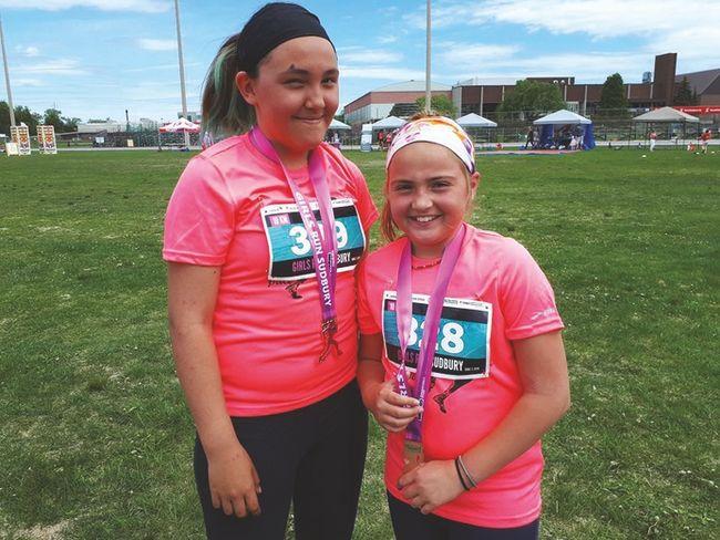 Photo supplied Ashley Burt and Anabelle Ropp took part in the Girls Run Sudbury 2.5-km race at Laurentian University on Sunday, June 3.