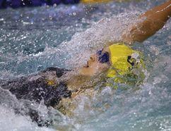Lara Thompson of the Sudbury Laurentian Swim Club competes in the girls 13 and over 50 meter backstroke at the Jeno Tihanyi Regional Championships in Sudbury, Ont. on Sunday June 3, 2018. Gino Donato/Sudbury Star/Postmedia Network