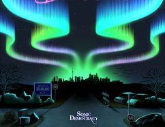 "Album cover art for the new Sonic Democracy release, ""Crossroads & Dreamlands."""
