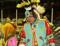 Local elder, Dennis Whitford, walked with Cache Miskiman, from Grande Prairie.
