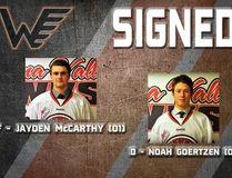 Winkler Flyers latest signings Jayden McCarthy and Noah Goertzen. (Supplied photo)