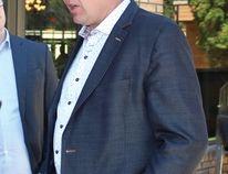 Premier Scott Moe outside of the Nipawin Evergreen Centre on June 19.