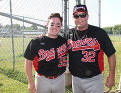 Matt Gagne (left) and Gord Bamford (right) on June 29 at the Bamford Braves baseball game in Pembroke.