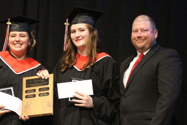 Cristine Kilpatrick (centre) walked away with numerous scholarships during TCI's graduation ceremony on June 22. (Juliet Kadzviti/Interlake Publishing)