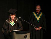Valedictorian Tanika Ensminger addresses her peers during the 2018 Lacombe Composite High School grad last Friday at the Enmax Centrium in Red Deer. (Ashli Barrett/Lacombe Globe)