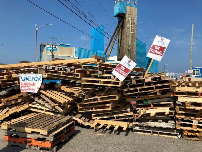 The entrance to the Goderich salt mine remains barricaded. (Kathleen Smith/Goderich Signal Star)