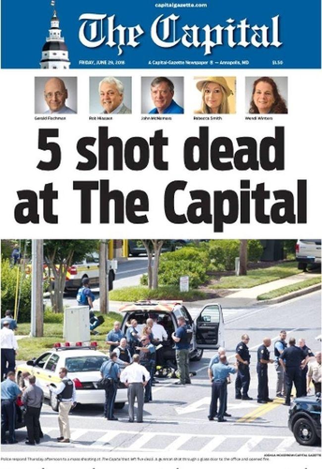 The Capital Gazette paper June 29, 2018. Photo courtesy of ABC News.