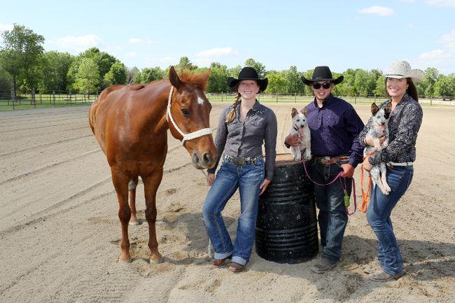 Taylor Bean, Austin Kinkead and Maddy Leonard at the Selkirk Park Agricultural Grounds on June 10. (Brook Jones/Interlake Spectator/Postmedia Network)
