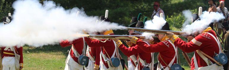 British troops return fire, at the Battle of Crysler's Farm War of 1812 Re-enactment. Todd Hambleton/Cornwall Standard-Freeholder