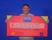 Scott Rienguette of Hanmer celebrates his $1 million Encore win. (Photo supplied)