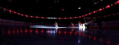 Miikka Kiprusoff and the  Calgary Flames skate onto the ice before playing the Nashville Predators  during NHL hockey  in Calgary, Calgary, Alberta, Sunday March 6, 2011. AL CHAREST/CALGARY SUN/QMI AGENCY