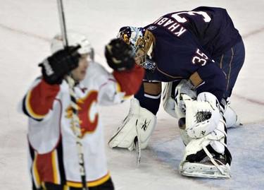 Edmonton Oilers  goalie Nikolai Khabibulin reacts to a Calgary Flames goal during NHL action at Rexall place. (JORDAN VERLAGE/EDMONTON SUN)