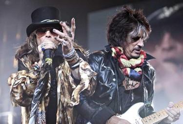 Steve Tyler and Joe Perry of Aerosmith perform at Rexall Place in Edmonton, Alberta, on Tuesday. CODIE MCLACHLAN / EDMONTON SUN