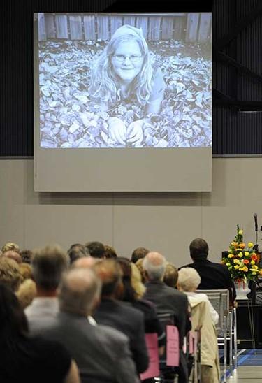 Oct. 3, 2008: During Emily Joy Stauffer's memorial service in Edson, Alberta. ((Larry Wong/Sun Media))