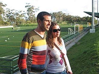 Legendary Portuguese soccer sensation Pauleta poses with Anabela Almeida of Toronto at his soccer academy near Ponta Delgada. (DAVE FULLER/QMI Agency)
