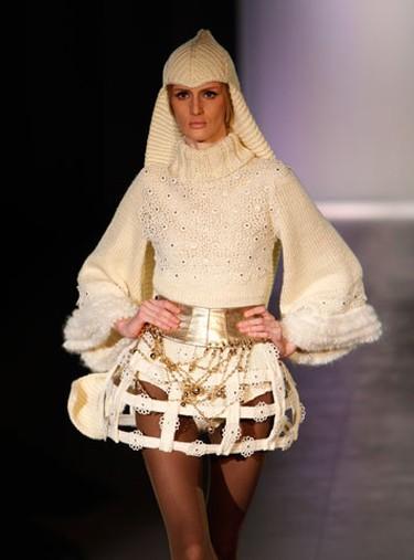 A model presents a creation by Ukrainian designer Viktor Zavadskiy during Ukrainian Fashion Week in Kiev March 14, 2010.  (REUTERS)
