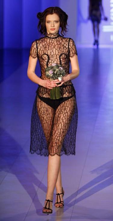 A model presents a creation by Ukrainian designer Mavka Khome during Ukrainian Fashion Week in Kiev March 15, 2010.   (REUTERS)
