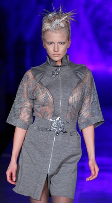 A model presents a creation by Ukrainian designer Julia Aysina during Ukrainian Fashion Week in Kiev March 14, 2010.  (REUTERS)