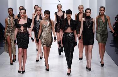 Models present creations by Ukrainian designer Ludmila Kislenko during Ukrainian Fashion Week in Kiev March 14, 2010.  (REUTERS)