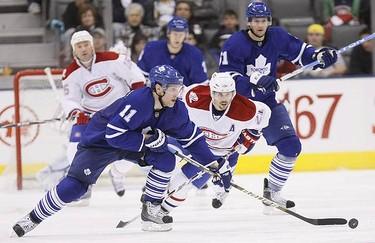 Toronto Maple Leafs right wing Fredrik Sjostrom in the third period on an NHL hockey game in Toronto on March 20, 2010.  (GREG HENKENHAF, Toronto Sun)